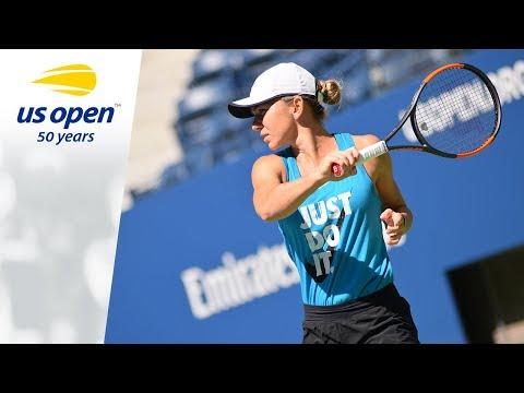 Simona Halep And Agnieszka Radwanska Practice Before The 2018 US Open