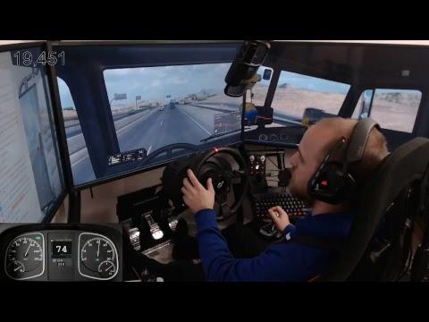 American Truck Simulator single player with mods E2 wheel cam