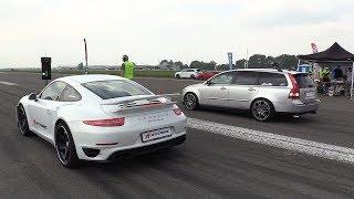 500HP Volvo V50 T5 vs 720HP Porsche 991 Turbo S vs 550HP Golf 2 VR6 Turbo