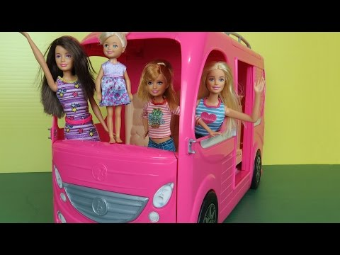 Thumbnail: CAMPER Part 2 Ball & Pool Playing Picnic Eating Gymnastics with Barbie Chelsea Skipper Stacie RV