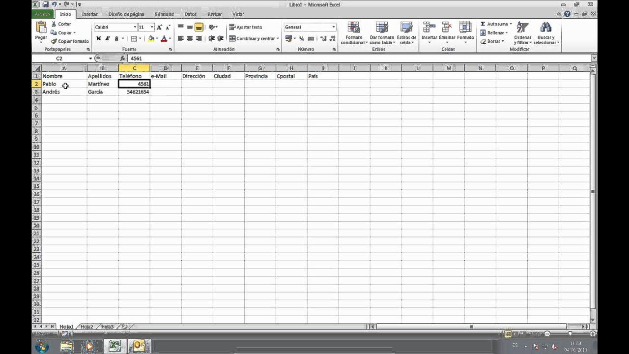 08 Organizacion Basica De Contactos Con Excel