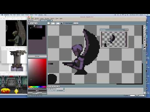 How to pixel art Angel column background game asset with Aseprite
