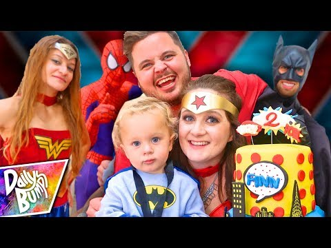 SUPERHERO BIRTHDAY PARTY SPECIAL!  Finns 2nd Birthday Party (w/ Super Surprise Guests!!)