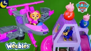 Paw Patrol Skye Saves Peppa Pig Weebles Treehouse Rescue Story Transforming Flip and Fly Toys Video
