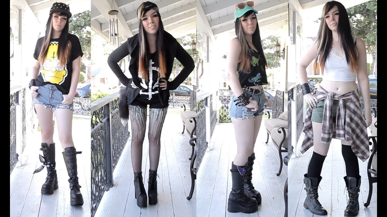Summer Of Grunge LookBook! 4 Outfits! - YouTube
