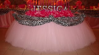 rent tulle fairy table cloth linens by sweet 16 candelabras