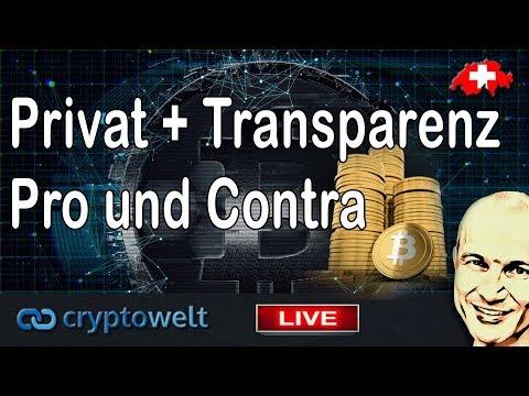 Privatsphäre und Transparenz bei Bitcoin - Pro und Contra