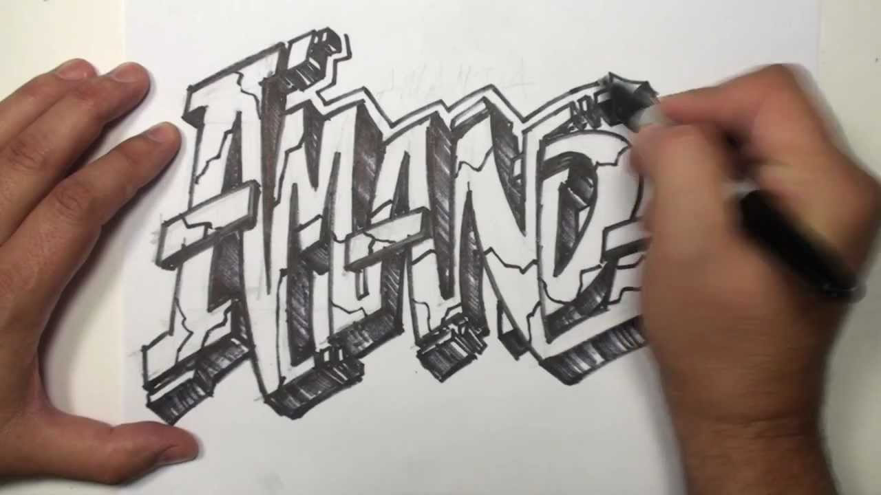 Graffiti speed drawing name art amanda mat youtube