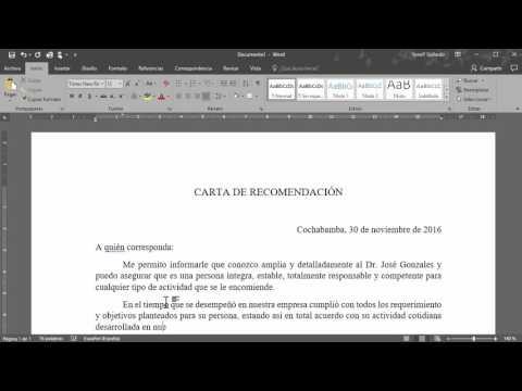 Cómo hacer una carta de recomendación en Word