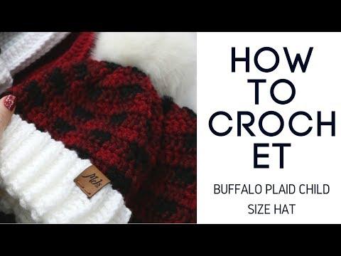 Crochet Buffalo Plaid Child Size Hat Tutorial