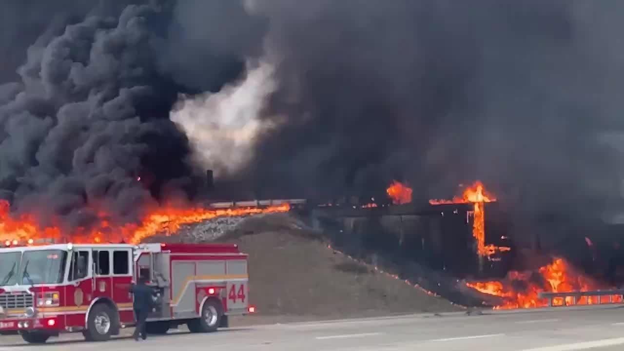 Fuel tanker overturns, sparking massive fire on Indiana highway