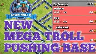 Th13 Best Troll Base !! Anti 1 Star/ Anti 2 Star. Best Pushing base. coc