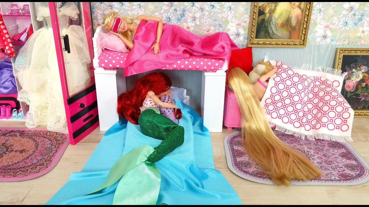 Merveilleux Barbie Little Mermaid Ariel Rapunzel Bunk Bed House Kitchen Breakfast  Morning Routine