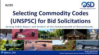 BUYERS:  Selecting Commodity Codes (UNSPSC) for Bid Solicitations