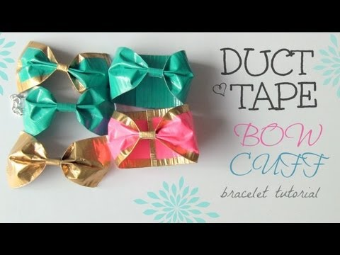 How to make a bow how to instructions - Diy Duct Tape Bow Cuff Bracelet Youtube