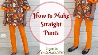 How to Make Straight Pants | Ladies Straight Pants Cutting & Sewing