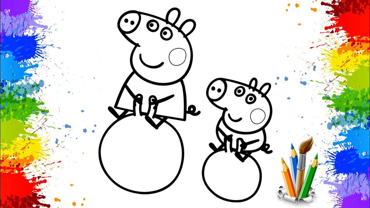 🎨Dibujar y colorear Peppa Pig y su hermano George | 🎨dibujos para niños |Coloring pages for kids