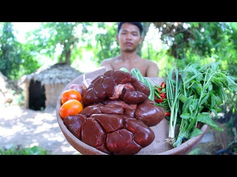 Amazing Cooking Recipe - How To Primitive Cooking Cow's Kidney Fried For Food | Wilderness Life