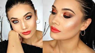 Holiday Party Makeup Tutorial | Metallic Copper Sparkling Smokey Eye + Bright Lips