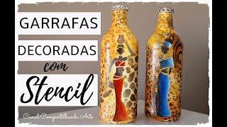 GARRAFAS DECORADAS AFRICANAS USANDO STENCIL