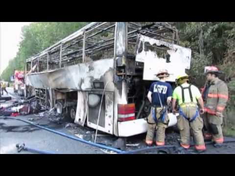 Tour bus fire snarls traffic on Northway