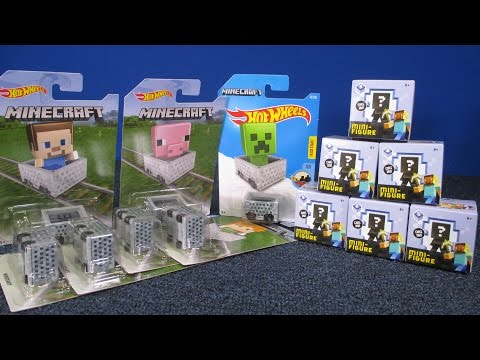 Hot Wheels Minecraft Minecart Set And Series 5 Minifigures Unboxing Surprise Toys Blind Bags