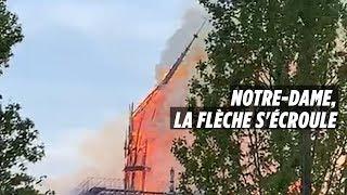 Notre-Dame de Paris en feu : le moment où la flèche s'écroule