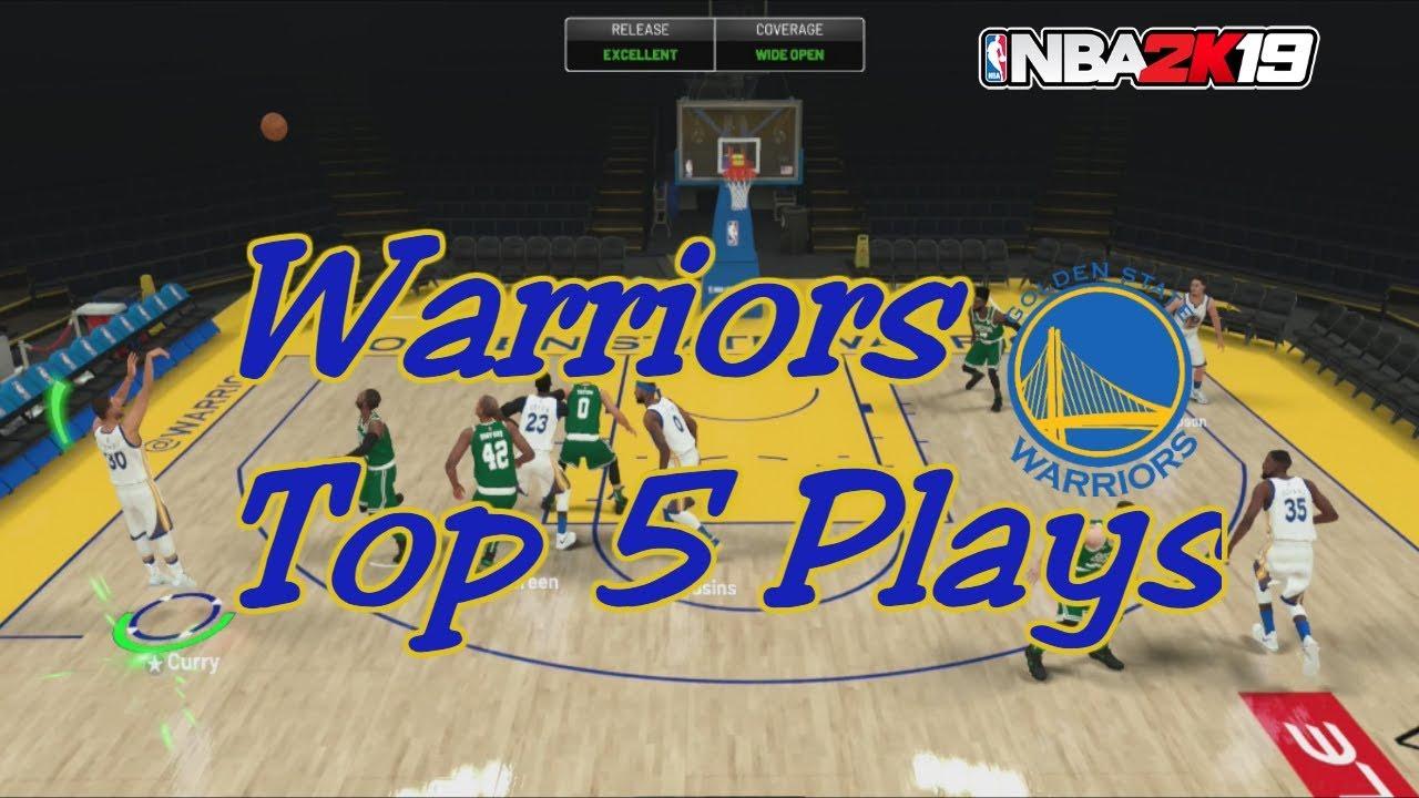 Top 5 Warriors Money Plays In NBA 2K19   Double Screens And Open 3's
