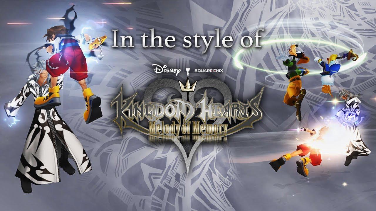 KINGDOM HEARTS II in the style of Melody of Memory - Sora, Donald & Goofy VS Twilight Xemnas