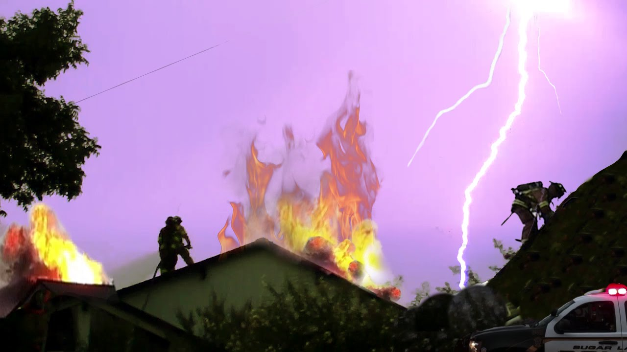 CRAZY Lightning Catches House On Fire  Firefighters Dont Care  YouTube