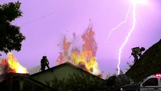 A house struck by lightning burns for hours as firefighters just stand around and watch. this is completely crazy to me how they don't care at all.==========...
