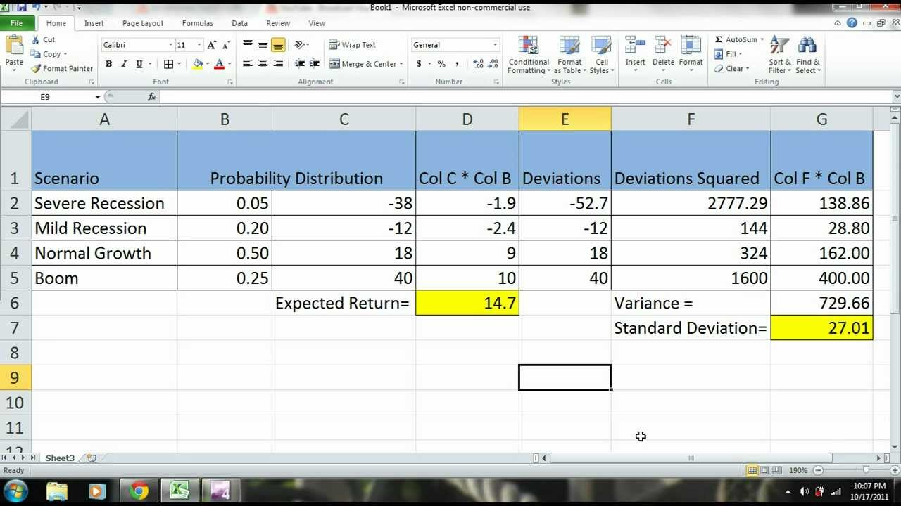 Excel 2010 tutorial scenario analysis of a stock expected excel 2010 tutorial scenario analysis of a stock expected return standard deviation part 2 ccuart Images