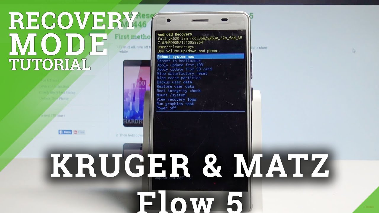 How to Enter Recovery Mode on KRUGER & MATZ Flow 5 - Exit Recovery System  |HardReset Info