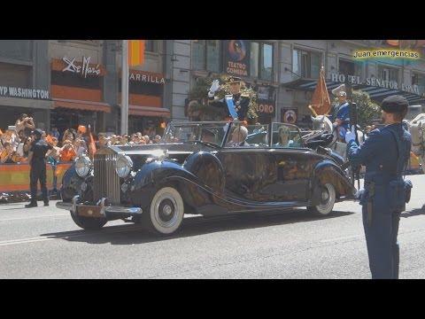 Desfile Gran via y Palacio Real Coronación Rey Felipe VI. Motorcades coronation King of spain