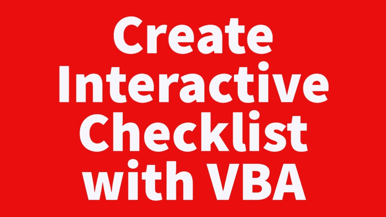 Create Interactive Checklist Youtube