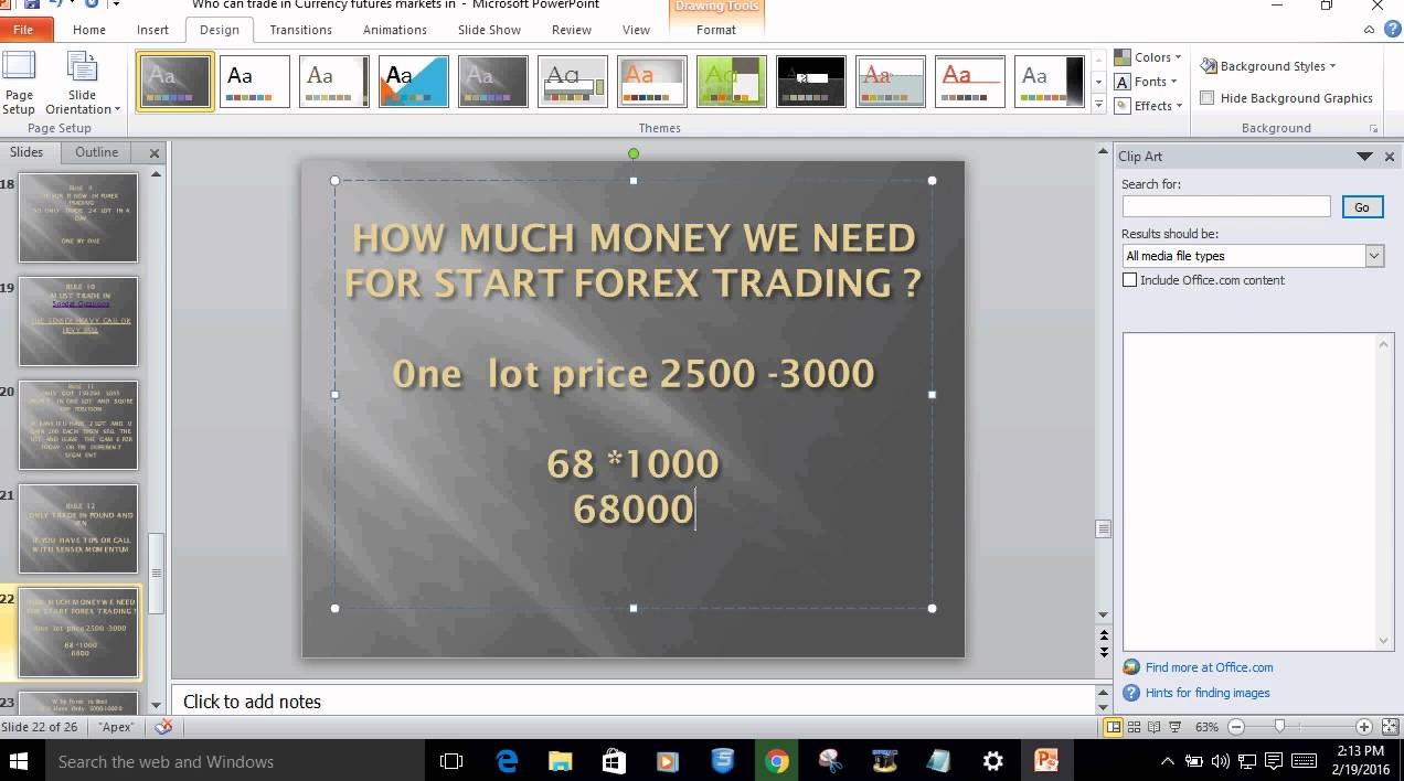 I want to start forex trading