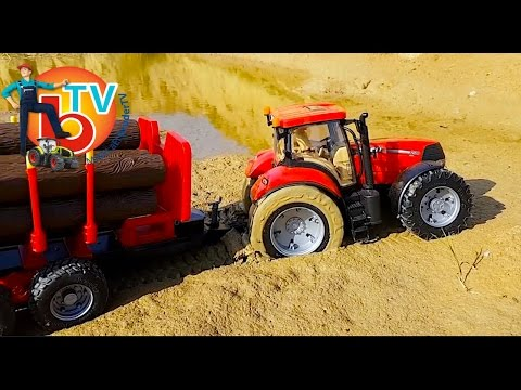 BRUDER TRAKTOR CASE Stuck In The Mud!  RC Toys Mudding!