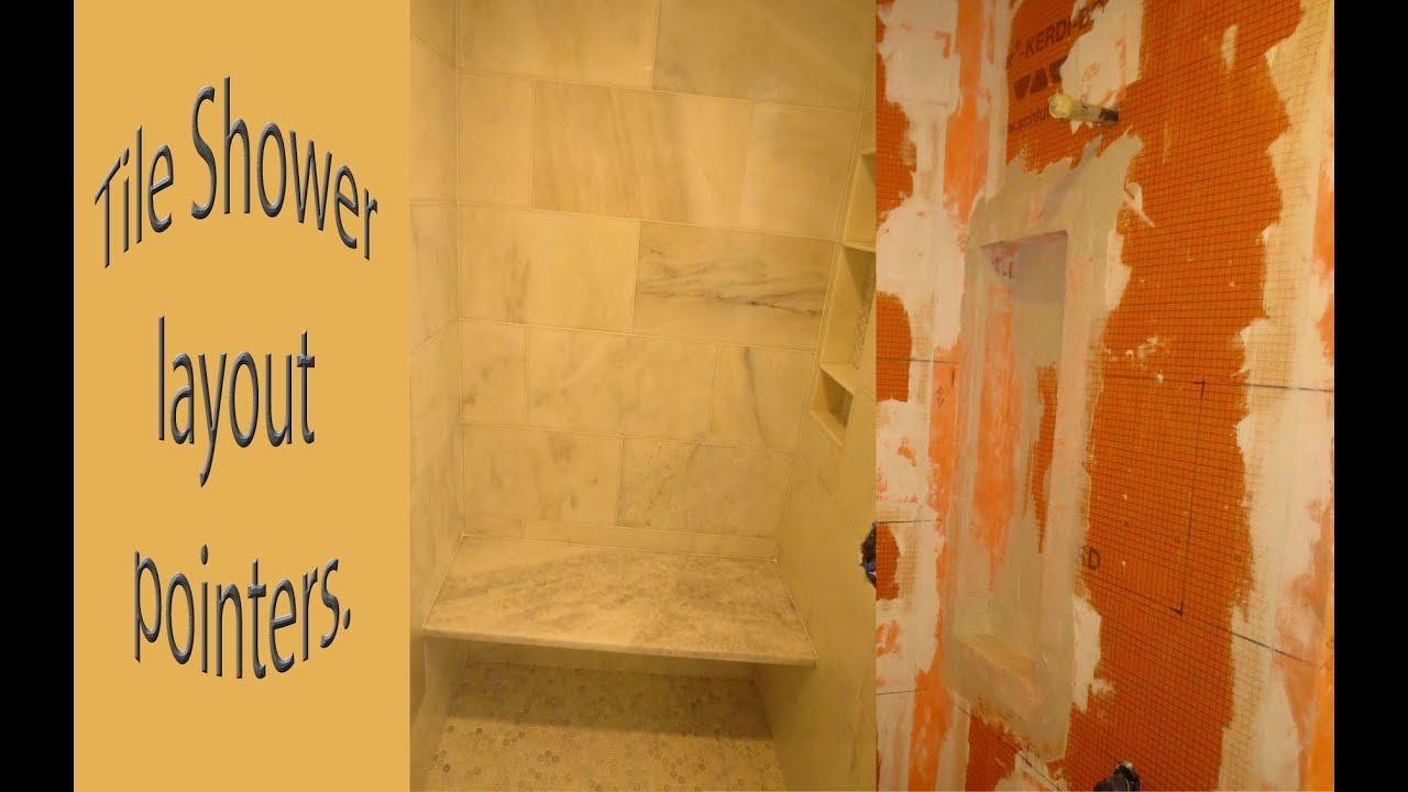 Tile layout tips for a tile shower - YouTube