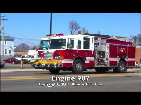 Central Stickney FPD E-907 Rolling to Working Fire