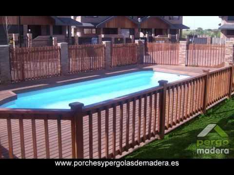Pergomadera barandillas de madera youtube for Galpon de madera para jardin