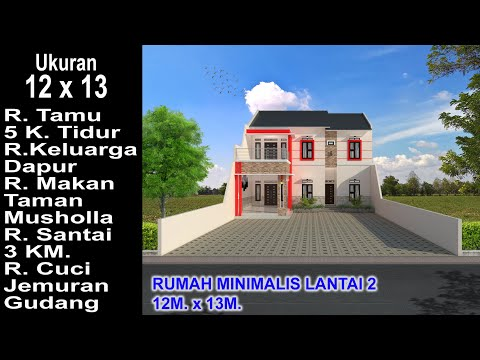 modern house 12x13. 5 k. tidur. desain rumah minimalis