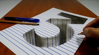 Draw a number 3 on Line Paper   3D Trick Art