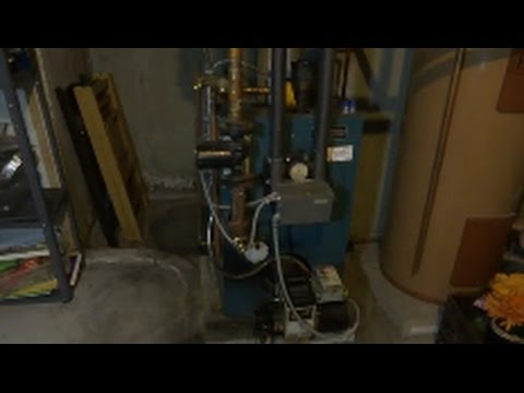 Burnham oil fired steel boiler annual service/ cleaning - YouTube