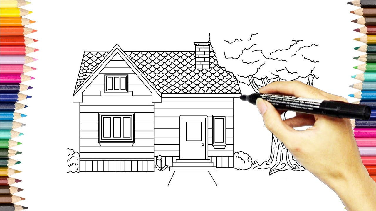 Drawing House Coloring Pages How To Draw And Color House Video For Childrens