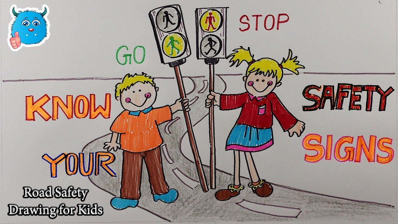 City Road Safety Drawing Poster For Kids Youtube