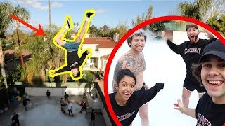 JUMPING OFF ROOF INTO 10,000 POUNDS OF DRY ICE!! (Vlog 417-419)