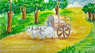How To Draw A Scenery Of Bullock Cart Step By Step