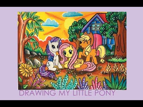 Cara Gradasi Warna Tema My Little Pony Speed Drawing Youtube
