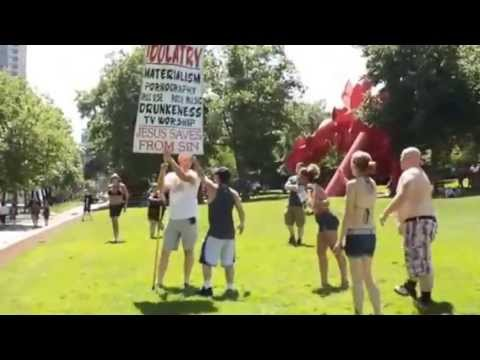 Seattle gay pride participants viciously beat Christian street preacher