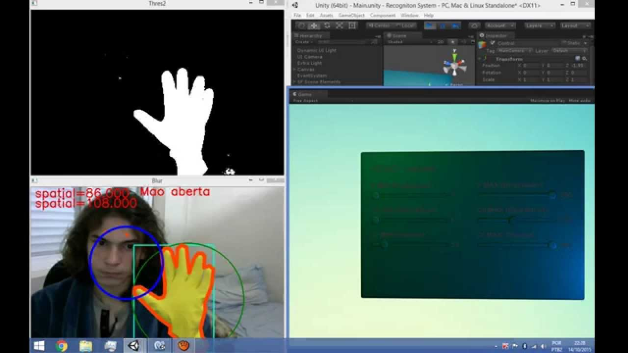 OpenCv + Unity - Gesture recognition - Convexity Defect {OpenCvSharp} - C#